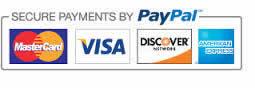 We accept Paypal, MC, Visa, Disc, AMEX